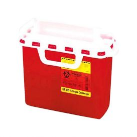 """Sharps Collector for Patient Room, 5.4 Quart, Red w/Horizontal Entry, 10.75"""" x 10.75"""" x 4"""" - 20/Case"""