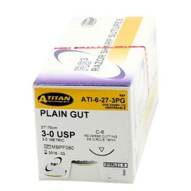 "Plain Gut Absorbable Suture, 3-0, C-6, Reverse Cutting, 27"" - 12/Box"