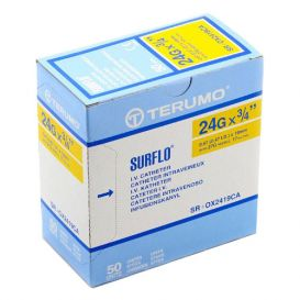"SURFLO® IV Catheter, 24G x ¾"", Yellow - 50/Box"