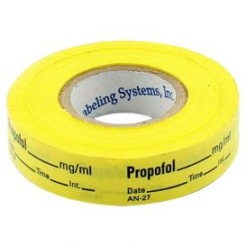Propofol Labels, Yellow, Perforated Tape Style - 333/Roll