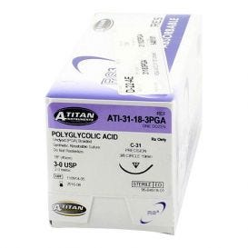 "PGA (Polyglycolic Acid) Undyed Braided Absorbable Suture, 3-0, C-31, 18"" - 12/Box"