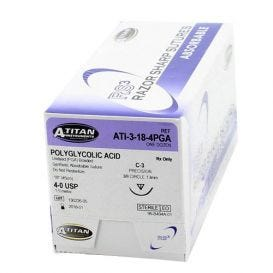 "PGA (Polyglycolic Acid) Undyed Braided Absorbable Suture, 4-0, C-3, 18"" - 12/Box"