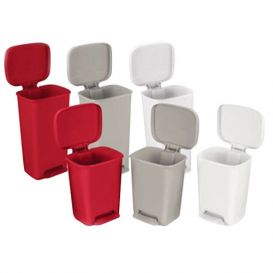 Rectangular Plastic Waste Can, 52 qt, Red w/Step-On Foot Pedal -