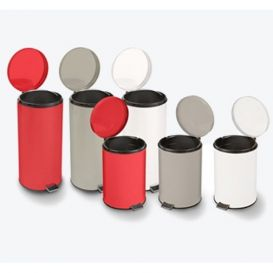 Round Steel Waste Can, 32 qt, Red Enamel Finish w/Step-On Foot Pedal -