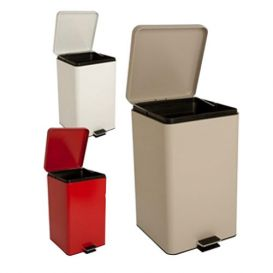 Step-On Metal Waste Can Square 20 qt White -