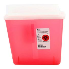 SharpSafety™ Sharps Container, 5 Quart, Transparent Red w/Always Open Lid - 20/Case