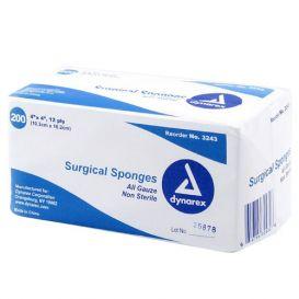 """100% Cotton Gauze Sponge, Non-Sterile, 4"""" x 4"""", 12Ply - 2000/Case"""
