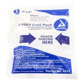 "Instant Cold Pack, Single Use, 4"" x 5"" - 24/Case"