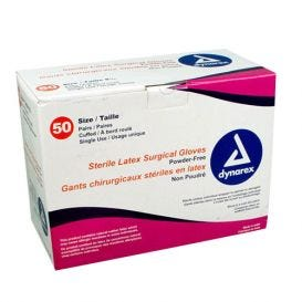 Latex Surgical Gloves, Size 6.5, Powder-Free - 50/Box