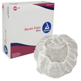 "Operating Room Nurse Cap, 21"", White - 100/Box"