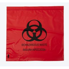 "Biohazard Red Bag 12"" x 12"" Ziplock 2.0 mil - 1000/Case"