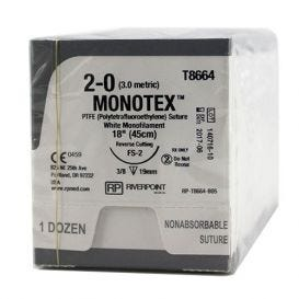 "MONOTEX® PTFE (Polytetrafluoroethylene) White Monofilament Non-Absorbable Suture, 2-0, FS-2, Reverse Cutting, 18"" - 12/Box"