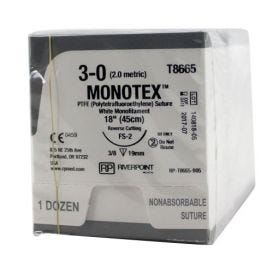 "MONOTEX® PTFE (Polytetrafluoroethylene) White Monofilament Non-Absorbable Suture, 3-0, FS-2, Reverse Cutting, 18"" - 12/Box"