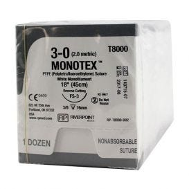"MONOTEX® PTFE (Polytetrafluoroethylene) White Monofilament Non-Absorbable Suture, 3-0, FS-3, Reverse Cutting, 18"" - 12/Box"