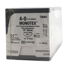 "MONOTEX® PTFE (Polytetrafluoroethylene) White Monofilament Non-Absorbable Suture, 4-0, FS-3, Reverse Cutting, 18"" - 12/Box"