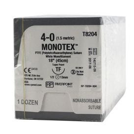 "MONOTEX® PTFE (Polytetrafluoroethylene) White Monofilament Non-Absorbable Suture, 4-0, TF, Taper Point, 18"" - 12/Box"