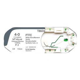 "MONOTEX® PTFE (Polytetrafluoroethylene) White Monofilament Non-Absorbable Suture, 4-0, P-3, Premium Reverse Cutting, 18"" - 12/Box"