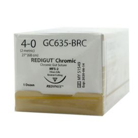 "Reli® REDIGUT® Chromic Gut Absorbable Suture, 4-0, MFS-2 (FS-2 or C6), Reverse Cutting, 27"" - 12/Box"