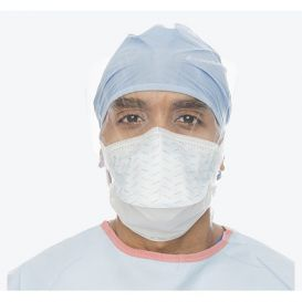 FLUIDSHIELD Surgical Mask w/Horizontal Ties, Expanded Chamber, and Anti-Glare Wraparound Visor - 25/Box