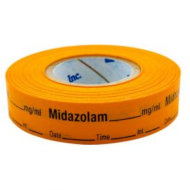 Midazolam Labels, Orange, Perforated Tape Style - 333/Roll