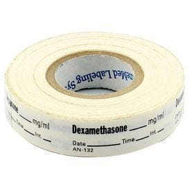 Dexamethasone Labels, White, Perforated Tape Style - 333/Roll