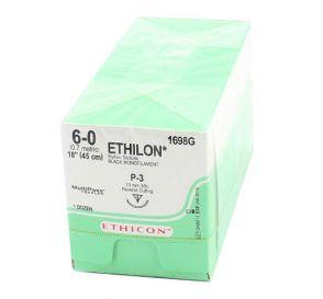 "ETHILON® Nylon Black Monofilament Non-Absorbable Suture, 6-0, P-3, Precision Point-Reverse Cutting, 18"""