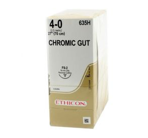 """Chromic Gut Absorbable Suture, 4-0, FS-2, Reverse Cutting, 27"""""""