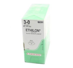 "ETHILON® Nylon Black Monofilament Non-Absorbable Suture, 3-0, FS-1, Reverse Cutting, 30"""
