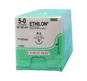 "ETHILON® Nylon Undyed Monofilament Non-Absorbable Suture, 5-0, P-3, Precision Point-Reverse Cutting, 18"""