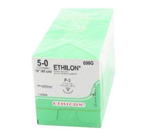 "ETHILON® Nylon Black Monofilament Non-Absorbable Suture, 5-0, P-3, Precision Point-Reverse Cutting, 18"""