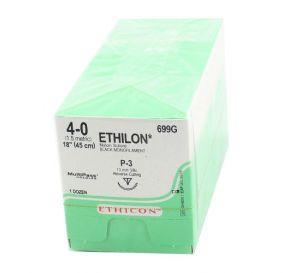 "ETHILON® Nylon Black Monofilament Non-Absorbable Suture, 4-0, P-3, Precision Point-Reverse Cutting, 18"""