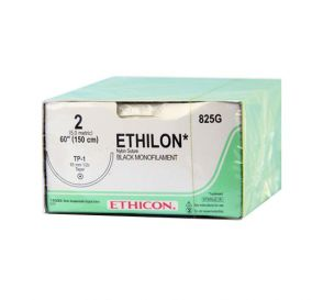 "ETHILON® Nylon Black Monofilament Non-Absorbable Suture, 2-0, TP-1, Taper Point, 60"""