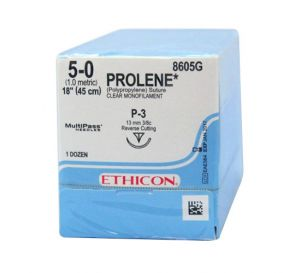PROLENE® Polypropylene Undyed Monofilament Non-Absorbable Suture, 5-0, P-3, Precision Point-Reverse Cutting, 18""