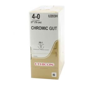 """Chromic Gut Absorbable Suture, 4-0, RB-1, Taper Point, 27"""""""