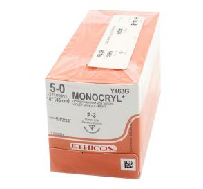 MONOCRYL® Violet Monofilament Absorbable Suture, 5-0, P-3, Precision Point-Reverse Cutting, 18""