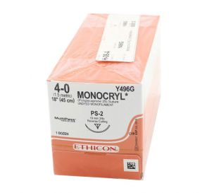 MONOCRYL® Undyed Monofilament Absorbable Suture, 4-0, PS-2, Precision Point-Reverse Cutting, 18""