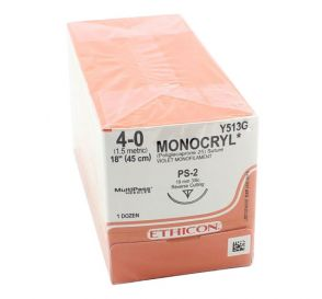 MONOCRYL® Violet Monofilament Absorbable Suture, 4-0, PS-2, Precision Point-Reverse Cutting, 18""