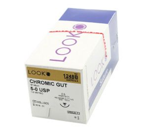 """Chromic Gut Absorbable Suture, 5-0, C-3, Precision Reverse Cutting, 18"""""""