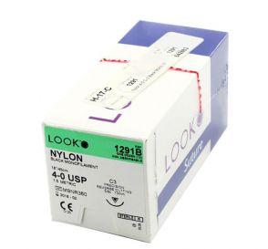 """Nylon Black Monofilament Non-Absorbable Suture, 4-0, C-3, Precision Reverse Cutting, 18"""""""