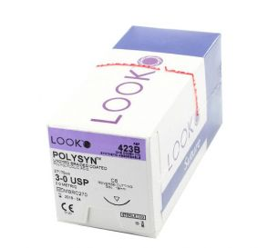 POLYSYN™ Polyglycolic Acid Undyed Braided Coated Absorbable Suture, 3-0, C-6, Reverse Cutting, 27""