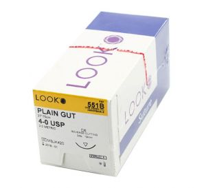 Plain Gut Absorbable Suture, 4-0, C-6, Reverse Cutting, 27""