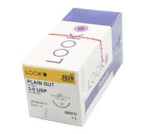 """Plain Gut Absorbable Suture, 3-0, C-21, Reverse Cutting, 18"""""""