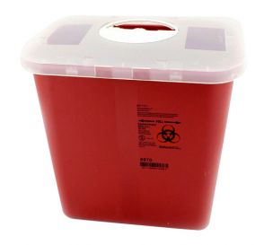 Sharps Container, 2 Gallon, Red w/Rotor Opening Lid