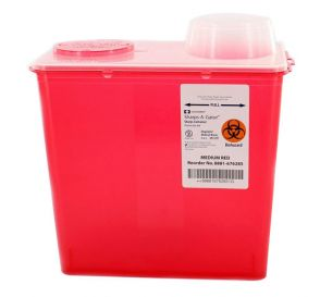Sharps-A-Gator™ Sharps Container, 8 Quart, Red, Chimney Top