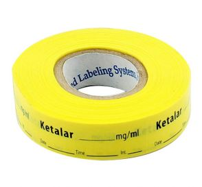 Ketalar Labels, Yellow, Perforated Tape Style