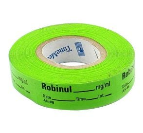 Robinul Labels, Green, Perforated Tape Style
