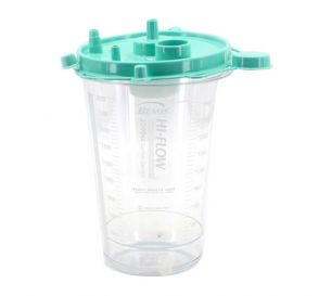 Hi-Flow™ Rigid Suction Canister (Green Lid), 2000 cc w/ Aerostat® Filter, Float Valve Shutoff and Two Elbows