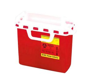 "Sharps Collector for Patient Room, 5.4 Quart, Red w/Horizontal Entry, 10.75"" x 10.75"" x 4"""