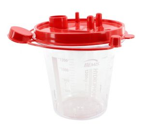 Hydrophobic Rigid Suction Canister (Red Lid), 1200 cc w/ Two Elbows
