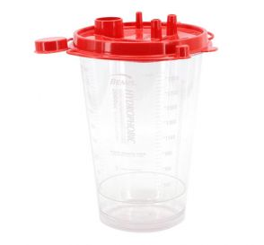 Hydrophobic Rigid Suction Canister (Red Lid), 2000 cc w/ Two Elbows